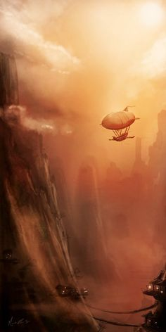 Airship and misty town. Steampunk Artwork, Steampunk Airship, Dieselpunk, Fantasy World, Fantasy Art, Cyberpunk, Fantasy Landscape, Fantasy Inspiration, Sci Fi Art