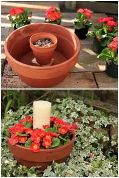 Make a flower pot candle holder with two terracotta pots, some pebbles, annuals, and a pillar candle. More crafty outdoor candle projects in this article.