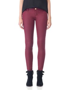 Resin effect trousers