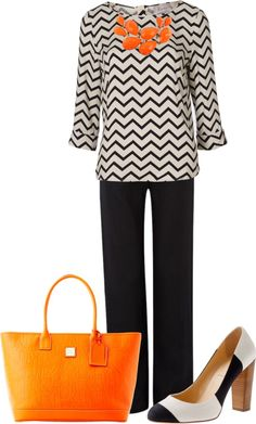 """""""Chevron Black and Orange"""" by wcatterton on Polyvore"""