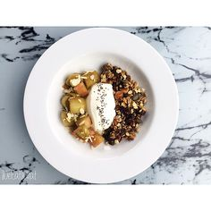 Freshly Roasted Nutty Granola w/ Rolled Oats, Pecans, Macadamias, Almonds, Chia, Flaxseeds, Pumpkin Seeds & Sunflower Seeds  :  Served w/ Greek Yoghurt and Stewed Rhubard :  | WeEatWhat