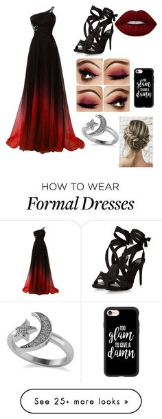 """red prom night"" by ems-geo on Polyvore featuring Lime Crime, Casetify and Allurez"
