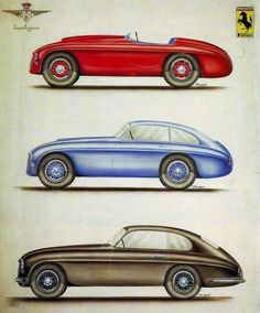 Ferrari designs by Carrozzeria Touring, 1940s.