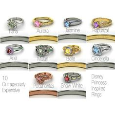 Disney princess inspired rings, Mulan and Rapunzel are my favorite! Disney Princess Rings, Cinderella Disney, Disney Dream, Disney Style, Disney Love, Disney Magic, Disney Wedding Rings, Disney Engagement, Engagement Rings