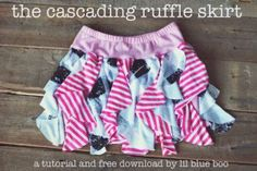 Cascading Ruffle Skirt Tutorial and Free Pattern Download via lilblueboo.com                                                                                                                                                                                 More