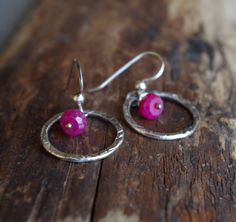 Fine silver and Ruby earrings - Hand forged metalwork dangles - Organic circles, precious stones