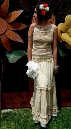 Antiqued Tea Dyed Bohemian/Prairie Alternative Wedding Dress, OOAK Two Piece, Elegant,  Romantic, Haute Couture, Halter Wedding Dress