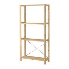 Bathroom shelves   IVAR 1 element/planken IKEA Onbehandeld massief hout is een slijtvast natuurmateriaal dat naar behoefte kan worden afgewerkt met verf, olie of lak.