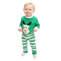 High Quality Kids Christmas Print Clothing  Kid Baby Christmas Elk Print Stripe Long Sleeve Top Shirt+Pants Outfits Set AT11 #Affiliate