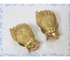 1880's Florentine Hand Cuff Links Cufflinks