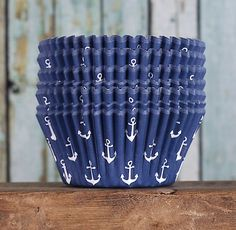 Navy Blue Cupcake Liners: Anchor