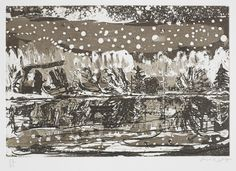 Peter Doig, Night Fishing, from the Stütz Mappe Portfolio, Etching and aquatint printed in sepia, 1995.