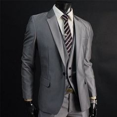 grey one button suit