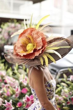 Kentucky Derby Flower Hat covers all the bases: shelter, visual interest, clever, stylish.