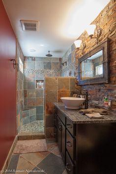 delta rain shower head Bathroom Rustic with modern rustic slate