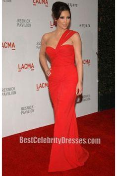 Kim Kardashian Red One Shoulder Formal Dress at Lacma    BestCelebrityDresses