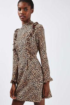 Leopard Print Ruffle Dress