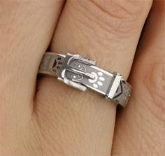 Dog collar sterling silver ring