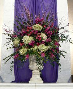 Peachtree Road United Methodist Flower Guild: A spring arrangement for the Lenten season Alter Flowers, Church Flowers, Funeral Flowers, Large Flowers, Silk Flowers, Wedding Flowers, Purple Flowers, Large Flower Arrangements, Memorial Flowers