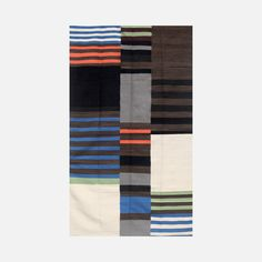 Hiranyaprakai 5x8 Black wool flatweave rug.  Hmmmm.  Could you just cut up a couple of stripe rugs from World Market or Pier 1 and sew them together?