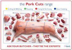 pork cuts meat poster
