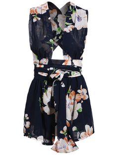 Floral Print Self-Tie Romper ==