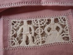 Pink Linen with Figural Needle Lace