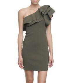 Valentino One shoulder stretch dress with ruffles | Lindelepalais.com 7857