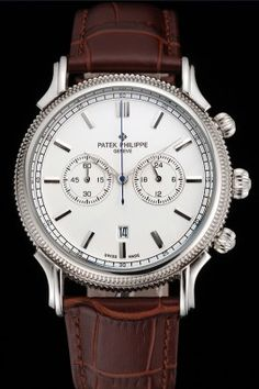 d3fba112a40e Patek Philippe Chronograph White Dial Stainless Steel Case Brown Leather  Strap. Vesna · Watches