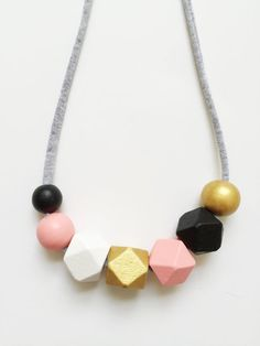 THE SALLY Large peach gold black and white by coralandcloud