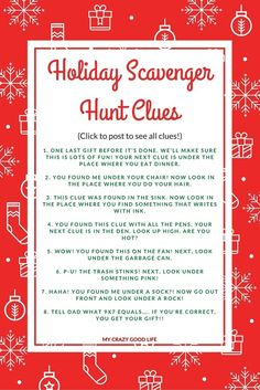 Holiday Scavenger Hunt Clues Holiday Scavenger Hunt Clues: Great for extending present time!<br> As kids get older they ask for more expensive gifts, which of course means less under the tree. A Holiday Scavenger hunt can make present time last longer! Holiday Games, Christmas Party Games, Christmas Activities, Holiday Fun, Holiday Ideas, Xmas Party, Xmas Games, Christmas Trivia, Festive
