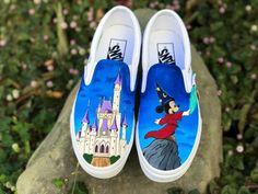 Items similar to Custom Disney Vans Slip Ons on Etsy Disney Painted Shoes, Painted Vans, Hand Painted Shoes, Painted Sneakers, Disney Vans, Disney Shoes, Disney Outfits, Disney Clothes, Disney Fashion