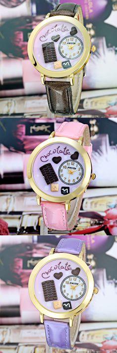 2016 3 colors Cartoon Children Watch Fashion Girl Kids Student Cute Leather quartz Wrist Watches