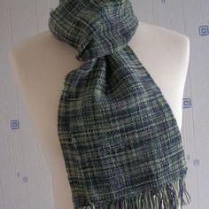 Echarpe vert marron noir, tissée main, laine