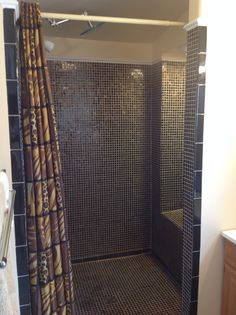 Tiger's eye glass mosaic tiles & wall paint strawberry malt from Lowes. Shower curtain from Wayfair. Shower kit found online. Shower designed & built by hubby Larry Jones.
