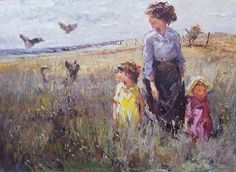 ADRIAAN BOSHOFF 'Landscape with woman and children' Oil on board 70 x 95 cm