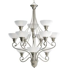 Shop for Progress Lighting Pavilion Collection Brushed Nickel Chandelier Lighting Fixture. Get free delivery On EVERYTHING* Overstock - Your Online Ceiling Lighting Store! Candle Chandelier, Chandelier Shades, Chandelier Lighting, Chandeliers, Brushed Nickel Chandelier, Billiard Lights, Progress Lighting, Drum Shade, Glass Shades