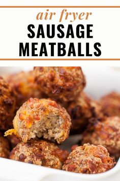 This easy recipe for 3 Ingredient Air Fryer Sausage Balls are made from pork sausage, cheddar cheese and almond flour. They are then cooked in the air fryer in under 20 minutes. Makes a great keto or low carb appetizer for any holiday or game day event. Cold Appetizers, Low Carb Appetizers, Low Carb Recipes, Real Food Recipes, Homemade Breakfast Sausage, Sausage Balls, Air Fryer Healthy, Meal Prep For The Week, Food For A Crowd