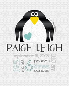 Personalized nursery art - P is for Penguin Birth stats. $20.00, via Etsy.