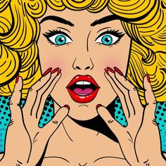 Sexy surprised blonde pop art woman with wide open eyes and mouth and rising hands screaming. Vector background in comic retro pop art style. - Comprar este vetor do stock e explorar vetores semelhantes no Adobe Stock Desenho Pop Art, Comics Vintage, Vegas Wedding Venue, Pop Art Women, Pop Art Wallpaper, Pop Art Girl, Pop Art Illustration, Pop Art Design, Vide Dressing