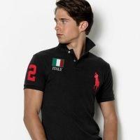 Slim Custom-Fit Polo Italie Drapeau Noir   RougeRalph Lauren courtes  manches flag polo, 8aeb39afd36