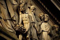 Detalle del friso de la Catedral Metropolitana. Que representa al encuentro de José y sus hermanos.