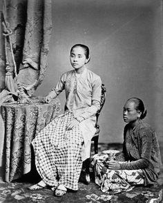 Java, Indonesia. Raden Ajoe Danoe Dirdjo, the young wive of Raden Saleh and her personal maid 1875 1885