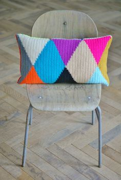 wood & wool harlequin pillow by woodwoolstool on Etsy, €125.00