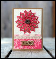 Another pretty card using Spellbinders new Cut Fold Tuck die templates. Without investing in the dies, the card can be made with other embellishments. I like the layout and simplicity.