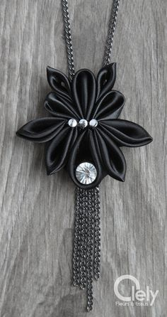 Black fabric necklace beetle rhinestone: kanzashi by OlelyDesign