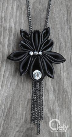 Black fabric necklace beetle rhinestone: kanzashi by OlelyDesign