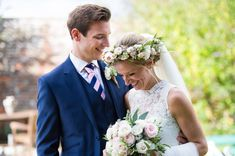 Elegant Wedding At The Rectory Hotel In The Cotswolds With Bride In Lusan Mandongus And A Pronovias Veil And A Floral Crown With Groom In Navy Suit From M&S And Images From Especially Amy