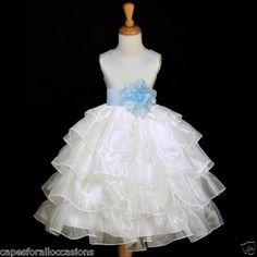 IVORY SKY LIGHT BLUE JUNIOR BRIDESMAID FLOWER GIRL DRESS ORGANZA TIER 2 4 6 8 10 | eBay