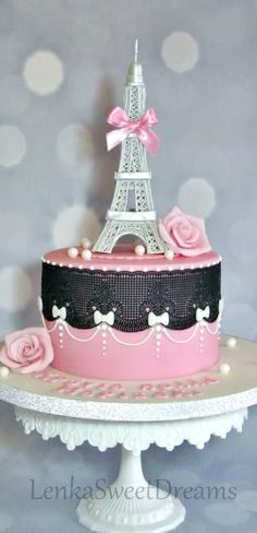 A little bit of Paris Cake Paris Birthday Cakes, Paris Themed Cakes, Paris Cakes, Paris Birthday Parties, Paris Party, Parisian Cake, Paris Sweet 16, Eiffel Tower Cake, Paris Baby Shower